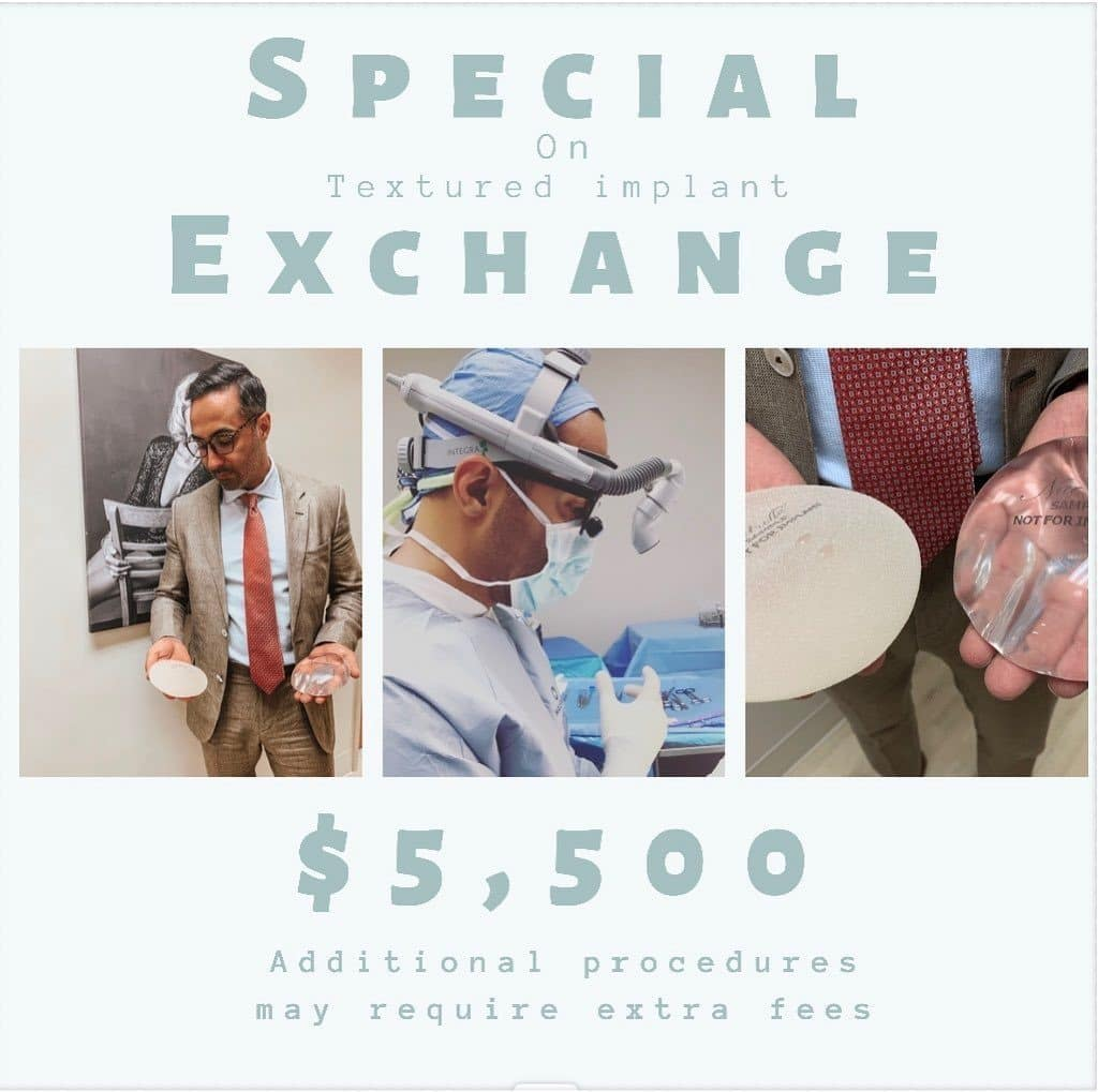 advertisement showing the current special on breast implant exchange